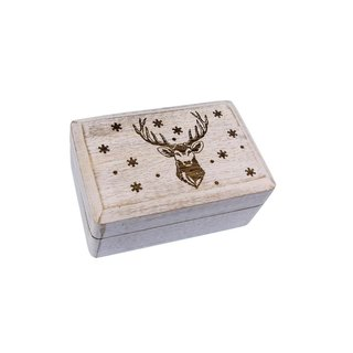 Holzbox weiß mit Weihnachts-Gravur groß
