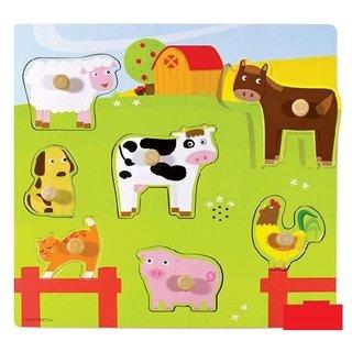Blase Puzzle Nutztieren Mit Ton Holz 7 Stück