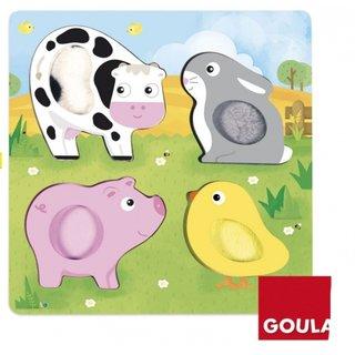 Fühlen Sie Puzzle Nutztiere Holz 4 Stück