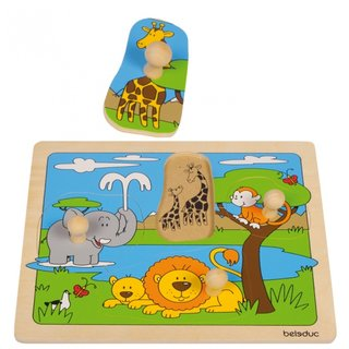 Holzknopfpuzzle Safari 4 Teile