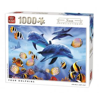 Vier Puzzleteile Dolphins 1000