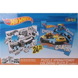 Hot Wheels 2-Seitiges Puzzle 24 Stück