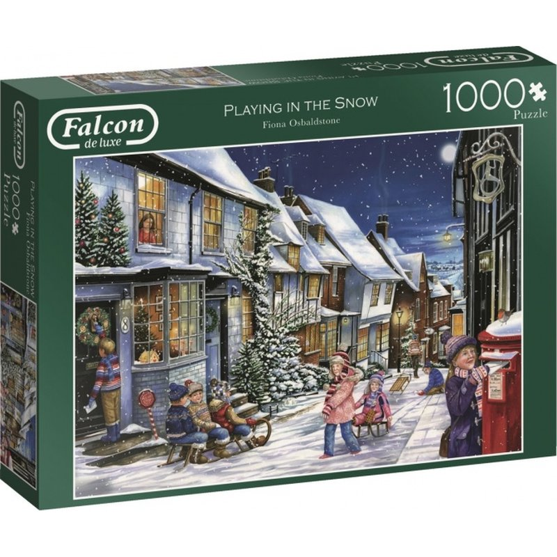 Puzzle Falcon Playing In The Snow1000 Teile