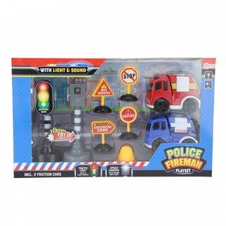 Spielset Polizei Und Feuerwehr 9-Teilig