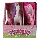 Spielset Unicorn Mit Fohlen Dreiteilig Weiß / Pink