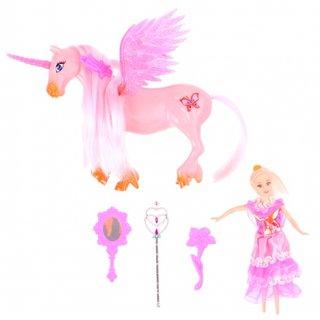Spielset Einhorn Mit Prinzessin 18 Cm Rosa