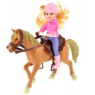 Horses Pferd Mit Mädchen Braun 17 Cm