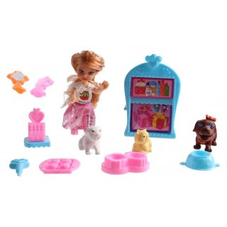 Spielset Patty Cute Girlmit Tieren 12-Teilig