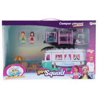 Girl Squad Reisemobil-Spielset 15-Teilig 43 Cm