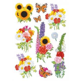 Etiketten 10 Stück 16 X 9 Cm Blumen & Schmetterlinge
