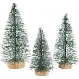 Miniatur Weihnachtsbäume 3 Stück 10 - 14 Cm Grün