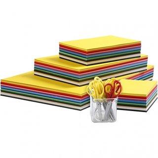 Buntkarton Und Kinderschere 1512 Stück 180 G Mehrfarbig