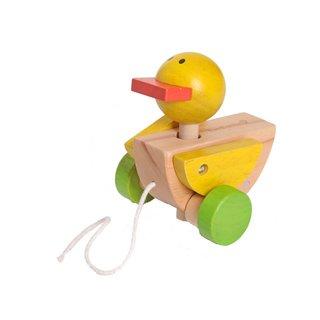 Zugtier Ente Holz Gelb Bewegliche Flügel 12 Cm Gelb