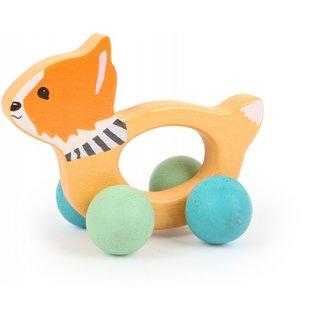 Holzgriff Auf Rädern Spielzeug Fuchs 12Cm