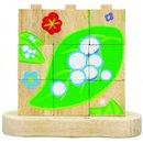 Blockpuzzle Holz Von Raupe Bis Schmetterling Mehrfarbig