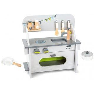 Kinderküche Aus Holz Weiß/Grau 36 X 17 X 37 X 37