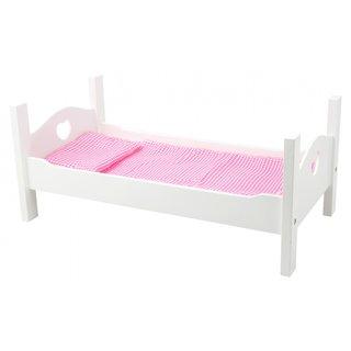 Holzpuppenbett Mit Bettwäsche 50 Cm Weiß / Rosa