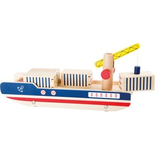 Holzcontainerschiff 34 Cm Blau / Rot