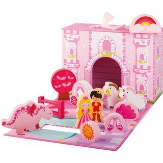 Prinzessin Schloss Playset Holz 13-Stück Mädchen Rosa